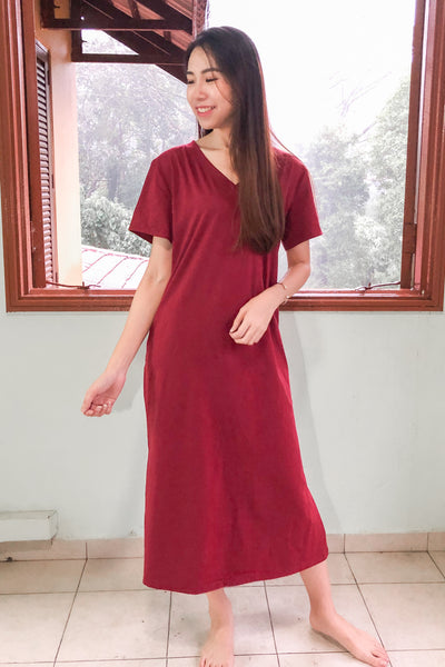 Ines Oversized Midi Dress in Burgundy