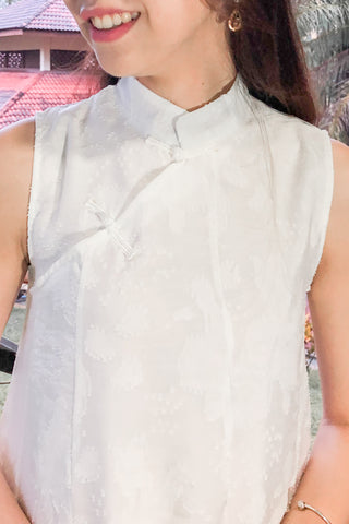 Leonce Cheongsam Dress in White