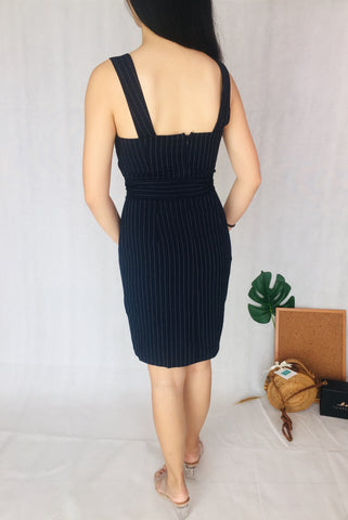 Sleeveless Stripe Romper in Dark Blue