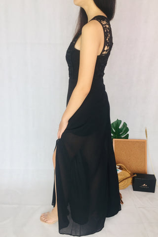 Temperanant Plain Black Long Dress