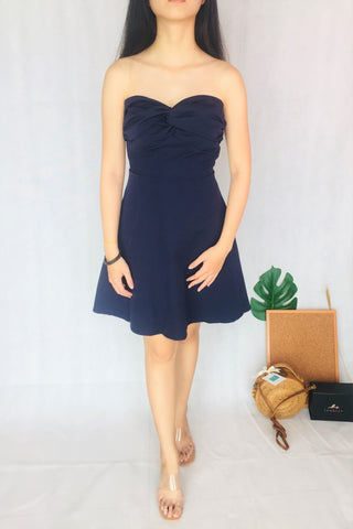 Tube Midi Dress in Navy Blue