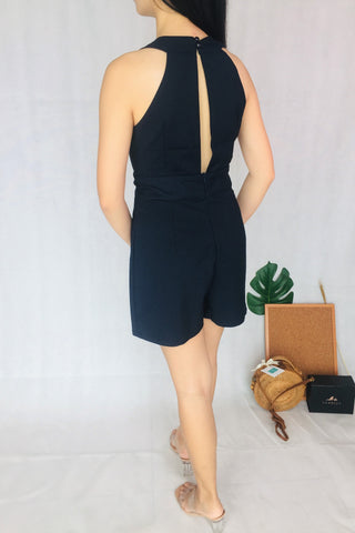 Low V Neckline Romper in Navy Blue