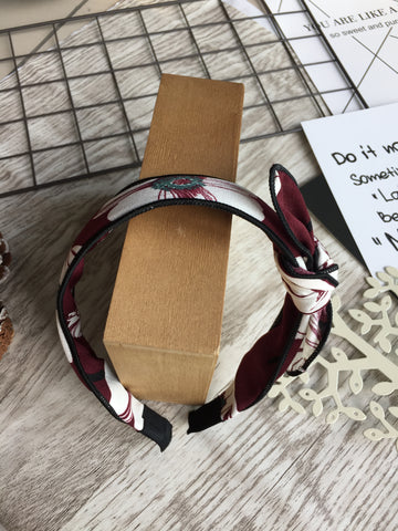 Ribbon Printed Headband Burgundy
