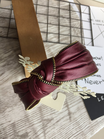 Knot Zipper Headband Burgundy