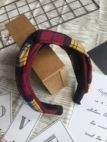 Knot Checker Headband Burgundy