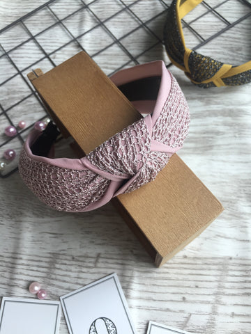 Knotted Plain Lace Headband Pink