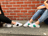 Contrast Base Lace Up Sneakers in Green