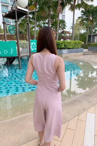 Layla Button Jumpsuit in Dusty Pink