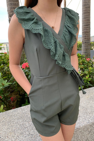 Mia Lace Ruffled Romper in Green