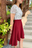 Bella Floral Embroidered Dress in Burgundy