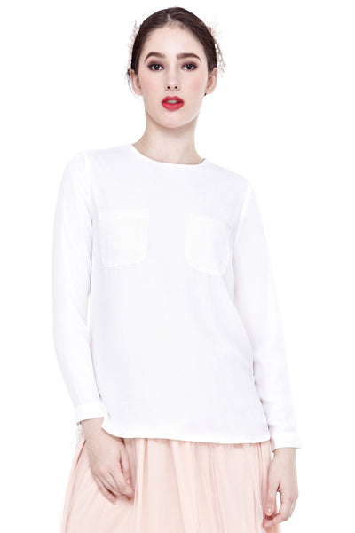 Hania Pocket Detail Top in Off-White - Tops - Twenty3