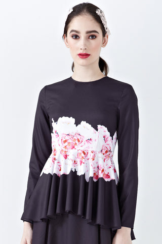 Elisya Peplum Top in Reine Placement Print