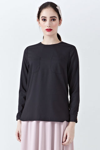 Hania Pocket Detail Top in Black - Tops - Twenty3