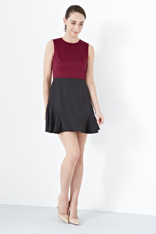 Twenty3 - Gretchen Side Flare Panels Skater Dress in Burgundy -  - Dresses - 1
