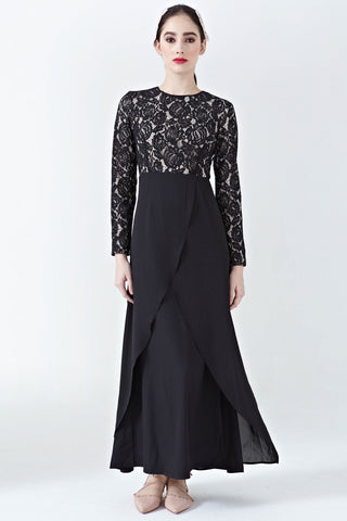 Adaliz Lace Overlay Dress in Black