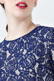 Adaliz Lace Overlay Dress in Navy Blue