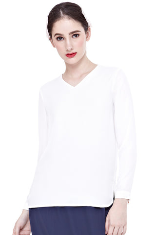 Myra Long Sleeve Top in Off-White - Tops - Twenty3