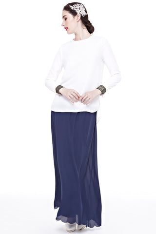 Mirah Long Sleeve Top with Cuff Embroidery in Off-White - Tops - Twenty3