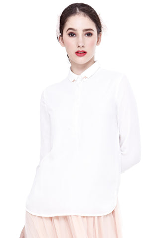 Anila Collared Long Sleeve Top in Off-White