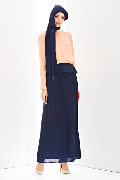 Daria Skirt in Navy Blue - Bottoms - Twenty3
