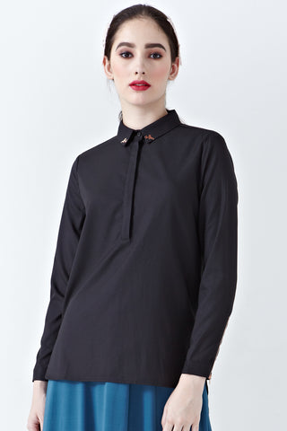 Anila Collared Long Sleeve Top in Black