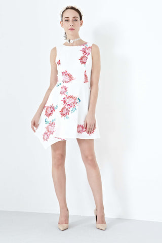 Dionne Asymmetrical Hemline Skater Dress in Edith Prints - Dresses - Twenty3