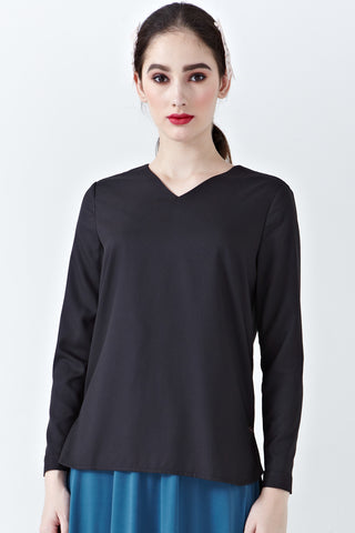 Myra Long Sleeve Top in Black - Tops - Twenty3
