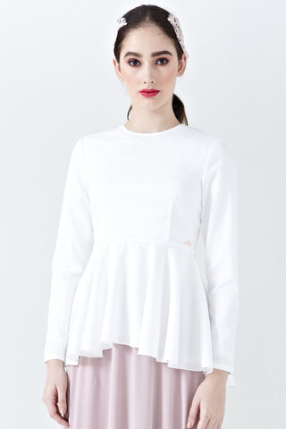 Elisia Long Sleeve Peplum Top in Off-White