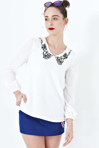 Twenty3 - Rosalyn Long Sleeve top with Collar Embroidery in White -  - Tops - 1
