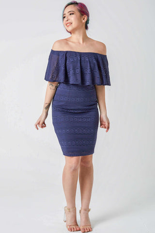 Lyra Lace Off Shoulder Bodycon Dress in Navy Blue