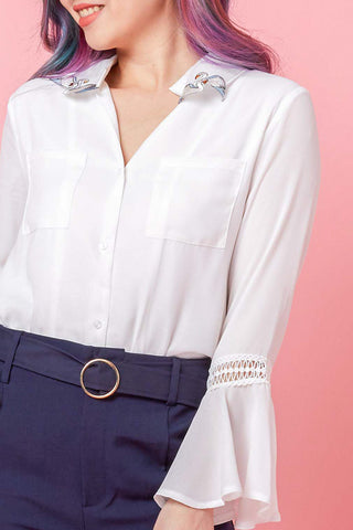 Suelita Long Sleeve Top with Embroidery Swan Collar in White - Tops - Twenty3