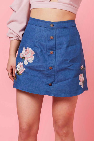 Tera Button Front Skort with Floral Embroidery in Dark Denim