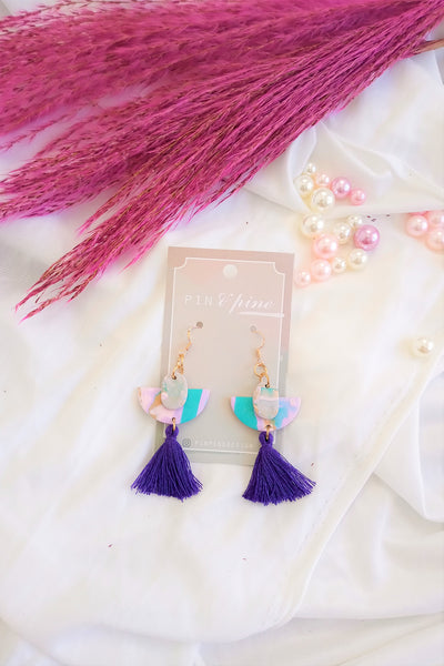 [HANDCRAFTED] Clay Blue Tassel Earrings