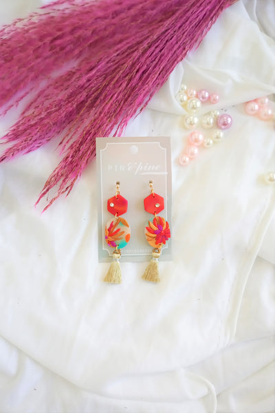 [HANDCRAFTED] Clay Gold Tassel Earrings in Red