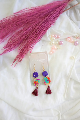 [HANDCRAFTED] Clay Mulberry Tassel Earrings