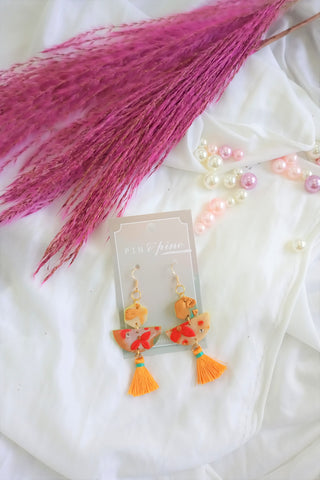 [HANDCRAFTED] Clay Orange Tassel Earrings