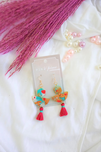 [HANDCRAFTED] Clay Red Tassel Earrings