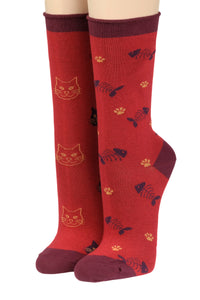 CRÖNERT Longsocks, Söckchen mit Rollrand Design crazy Cats with Fishes 18425 rot