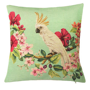 Belgian Tapestrie Zierkissenhülle 45 X 45 cm Cockatoo left  Cushion Gobelin