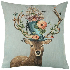 Belgian Tapestries Zierkissenhülle 45 X 45 cm Stag With Hat and Butterflies Gobelin