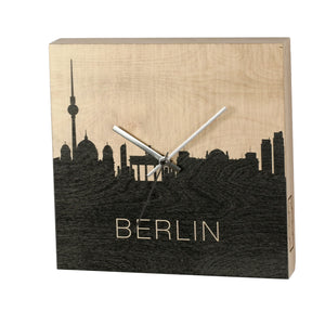 S.T.A.M.P.S. WOODCLOCK ® Made by Stamps Wanduhr aus Birkenholz - Berlin