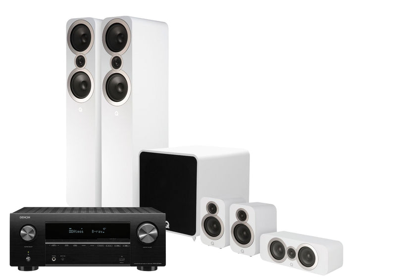 Q Acoustics 3050i PLUS with DENON AVRX2700H and Monitor Audio In-Ceiling Speakers 5.1.2 Home Cinema Bundle