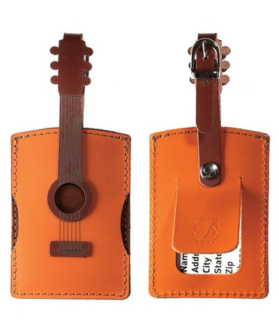 Leather Acoustic Guitar Luggage Tag