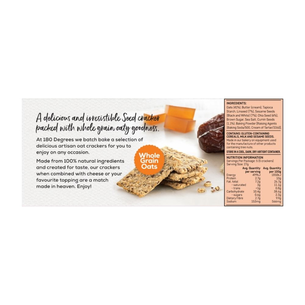 180 Degrees Cumin 4 Seed Oat Crackers 135G - Snacks | Oasis