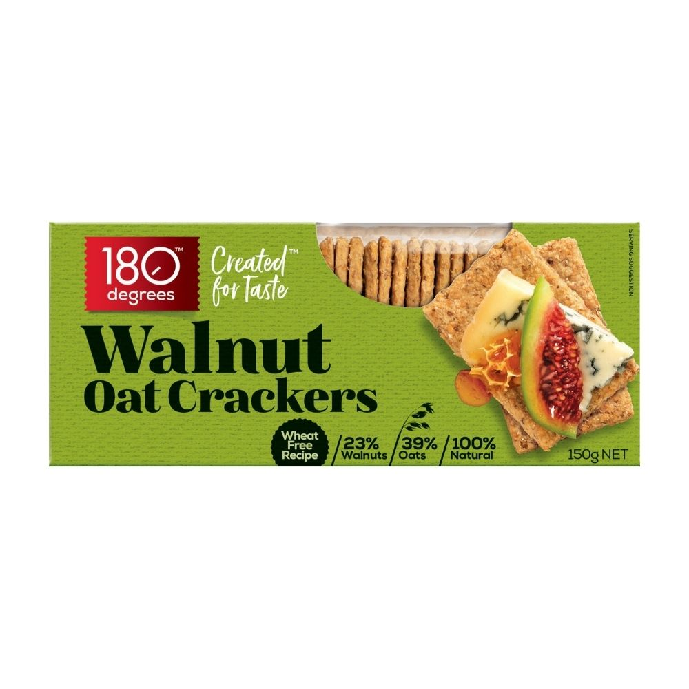 180 Degrees Walnut Oat Crackers 135G - Snacks | Oasis