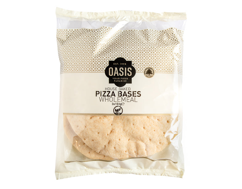 Pizza Bases- Wholmeal 3 x 150g - bread | Oasis