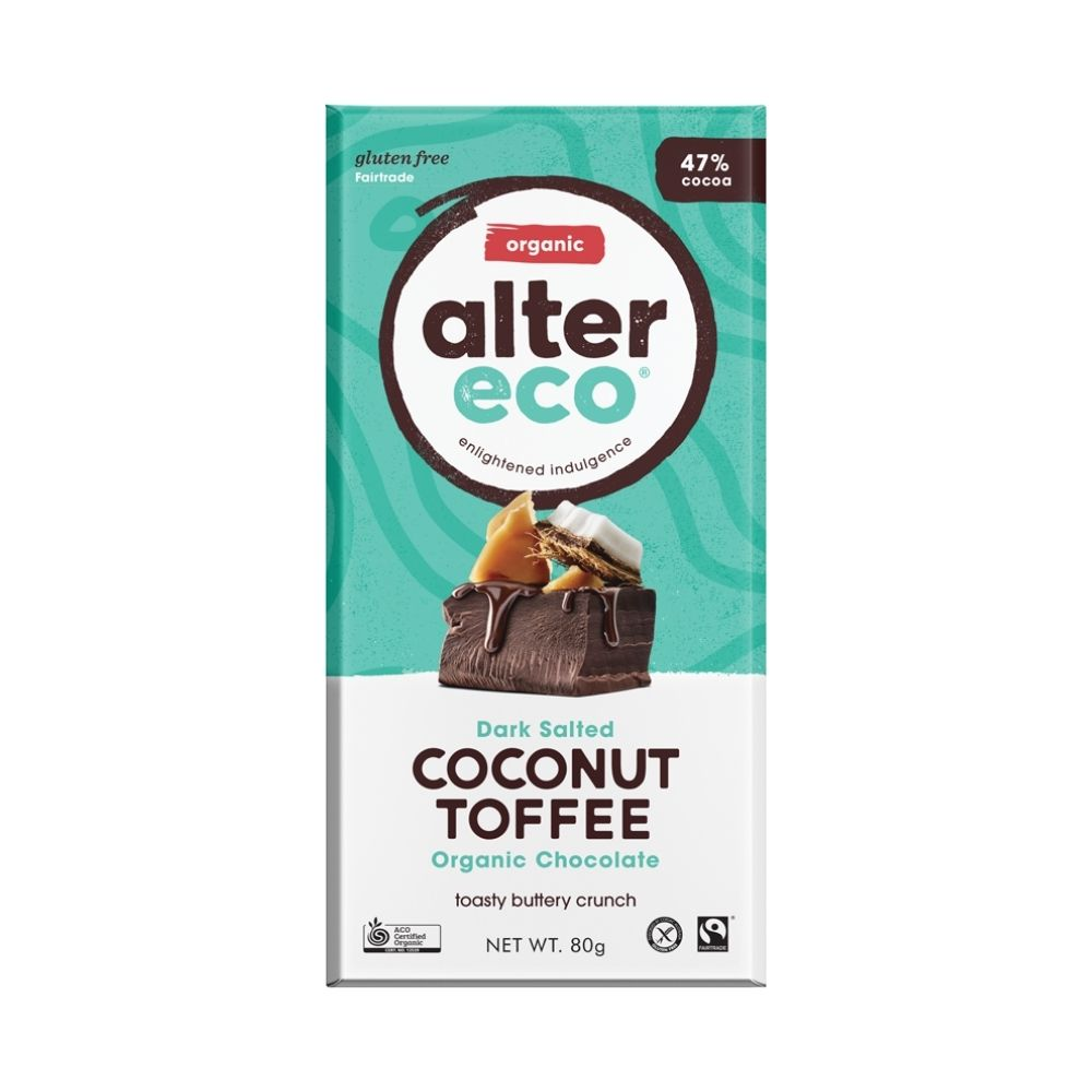 Alter Eco Dark Salted Coconut Toffee 80G - Oasis