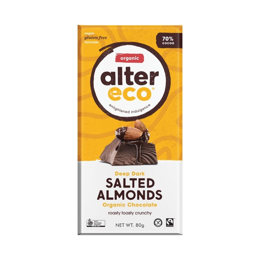 Alter Eco Deep Dark Salted Almonds 80G - Oasis