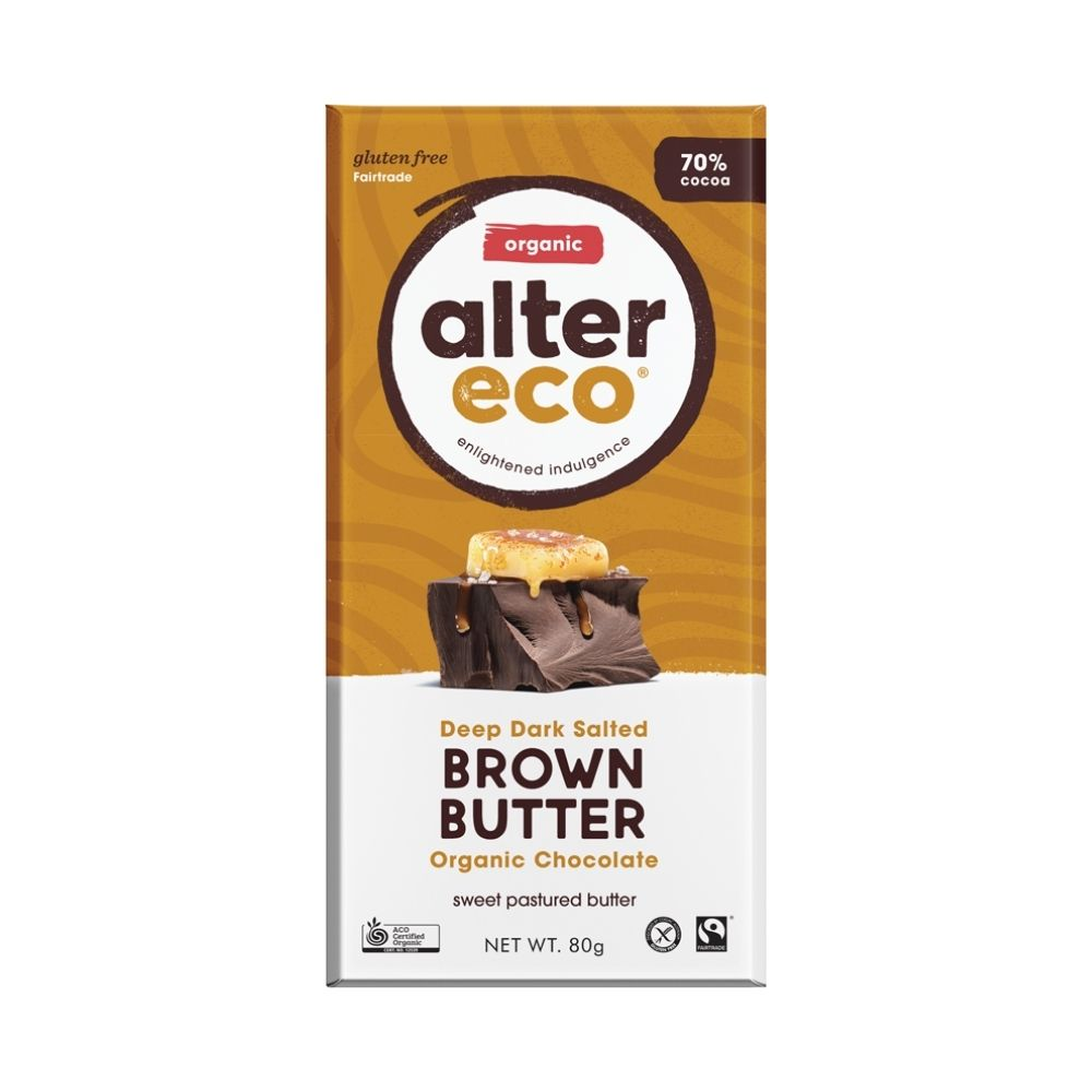 Alter Eco Deep Dark Salted Brown Butter 80G - snacks | Oasis