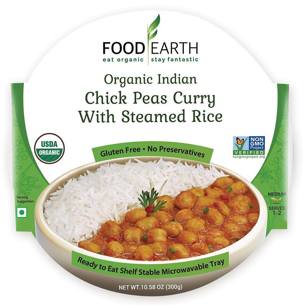 Food Earth Organic Chick Peas Curry with Steamed Rice 300G - ready to eat | Oasis